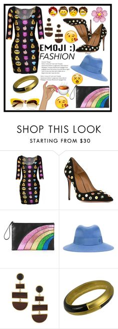 """""""Emojis"""" by hastypudding ❤ liked on Polyvore featuring Aquazzura, RED Valentino, Maison Michel, Lizzie Fortunato Jewels, Veja and Dolce&Gabbana"""
