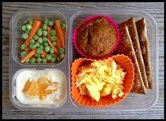 Egg salad with 100% whole-wheat crackers (ak-makbrand) Whole spelt pumpkin muffin (defrosted from freezer) Carrots and frozen peas Plain yogurt mixed with a little pure maple syrup and topped with orange segments School Lunches - 100 Days of Real Food