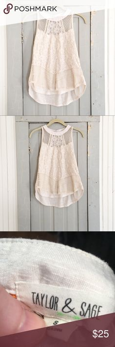 Lace Detail Cotton Tank Top. Beautiful top! I bought two of them & I decided to sell one. (It was too pretty to just buy one.) Lightly worn. Taylor and Sage Tops