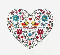 Cruz puntada, bordado de corazón, dechado de aves   Tela: Aida 14, cremoso 94W X 86h puntadas Tamaño: cuenta 14, cm 17.05w X 15.60 h Hilos: DMC Patrón