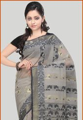 Grey Bengal Handloom tant saree with blouse self weaved saree. Available with cotton black blouse, blouse shown in the image is for photography purpose. (Slight variation in color is possible)