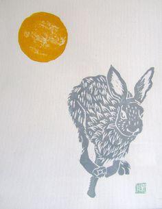 Hopping Hare - lino print 2012 - Yoko Isami, Japan