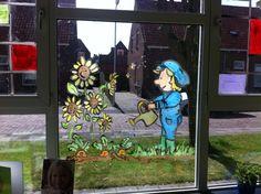 window painting school Little farmer  Raamschildering op de Dam Lemmer  Met een voorstelling over de groente tuin in vrolijke frisse kleurtjes