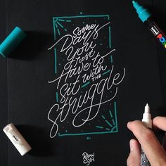 Lettering on black paper with marker white and emerald green. Hand Lettering Quotes, Calligraphy Quotes, Types Of Lettering, Calligraphy Letters, Typography Letters, Brush Lettering, Graphic Design Typography, Lettering Design, Typo Design