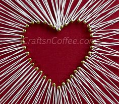 Beautiful string art! Made without wood and a hammer. Easy! CraftsnCoffee.com