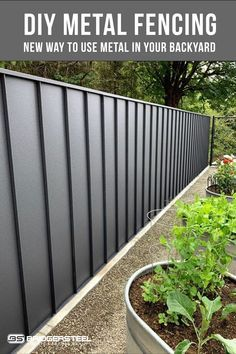 Metal panel systems have always been known for roofing and siding, but what about fencing? Using metal as fencing has become a popular choice because of its durability and low maintenance.  With many different options you are sure to find a fun and unique way to update your backyard. Diy Fence, Backyard Fences, Backyard Landscaping, Fence Ideas, Fence Options, Garden Fences, Fenced Yard, Corrugated Metal Fence, Metal Fence Panels