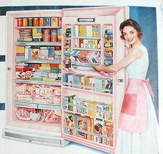 1958 ad pink Wizard Freezer by Western Auto frozen food kitchen Mad Men era housewife - Free U.S. shipping