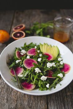 Watermelon Radish and Arugula Salad with Citrus Vinaigrette #recipe | FoodforMyFamily.com