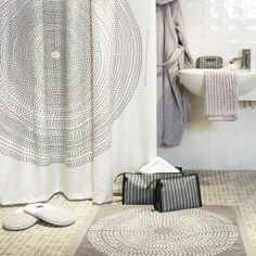 Marimekko Fokus Shower Curtain & Bathmat Set We are sorry but this item is sold out and no longer available. Burlap Curtains, White Curtains, Curtain Material, Curtain Fabric, Cool Shower Curtains, Modern Dining Table, Dream Bathrooms, Marimekko, Waterproof Fabric