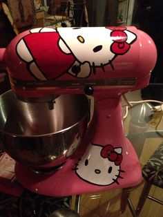 Hello Kitty - Custom Painted KitchenAid Mixers by ObrienCustomArt on Etsy, $200.00