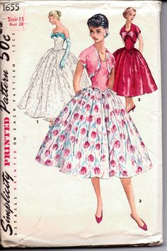 Simplicity 1655 evening gown rockabilly cocktail dress #1950s #ladies #simplicity #vintage #patterns #sewing #retro #vintagestitching #dress