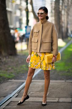 Street Style Trend: Fur Accessories - bright yellow dress + matching fur clutch worn with a cropped camel coat and flats