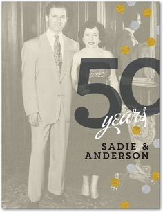Anniversary Party Invitations Postcards Confetti Delight - Front : Goldenrodlove this.