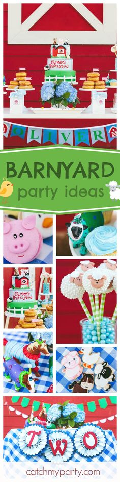Don't miss this fantastic Barnyard birthday party. The birthday cake decorated with farm animals is so cute! Love the barn in the background!! See more party ideas and share yours at CatchMyParty.com