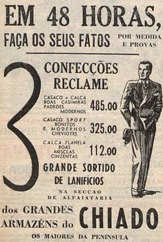 Advertisement for tailored suits, Chiado