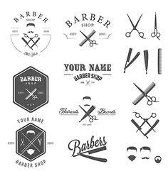 Set of vintage barber shop design elements vector on VectorStock®
