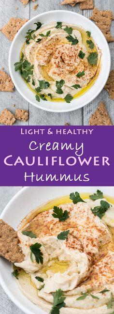 Light, Healthy & Creamy Cauliflower Hummus Recipe - Perfect low-cal party snack and appetizer. Vegan, Gluten-free, Oil-free, vegetarian, clean-eating recipe /// VeganFamilyRecipes.com #dip #appetizer
