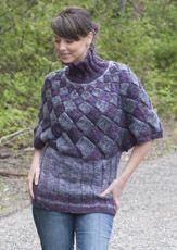 Free - Entrelac Poncho from Cascade Yarns website in Lana Bambu Poncho Knitting Patterns, Knitting Stitches, Knitting Yarn, Free Knitting, Crochet Patterns, Tunisian Crochet, Knit Crochet, Bolero, Cascade Yarn