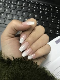 20 + French fade with bare and white ombre acrylic nails coffin nails . - 20 + French fade with bare and white ombre acrylic nails coffin nails – page 21 … – # Acrylic - Cute Gel Nails, Pretty Nails, Long Gel Nails, Best Acrylic Nails, Acrylic Nail Designs, French Acrylic Nails, Acrylic Nails Autumn, Natural Acrylic Nails, Coffin Nails Ombre