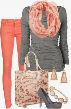 Orange pants, scarf, grey sweater, handbag and high heels for fall, follow the pic for more details and pricing