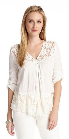 So Gorgeous! White Lace Roll Sleeve Top Blouse! Casual lace...