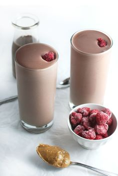 chocOlate raspberry almond butter protein shake