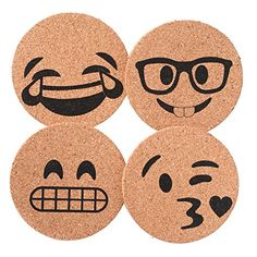 Corkologist Emoji Cork Coaster Printed, Set of 4 (Style 2...…
