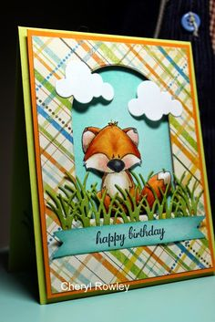 Fox from Whipper Snapper Designs—his name is Rizzo. Whimsy Stamps, Embossed Cards, Bird Cards, Scrapbook Cards, Scrapbooking, Animal Cards, Card Sketches, Copics, Paper Crafts