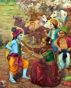 Mother Yashoda Garlands Krishna