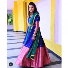 Pink and Blue Butti South Indian Fashion Gown - Haasini - Pink and Blue Butti South Indian Fashion Gown Ready Made Dresses : Pink and Blue Butti South Indian Fashion . Half Saree Lehenga, Saree Gown, Anarkali Dress, Lehnga Dress, Anarkali Suits, Bridal Lehenga, Half Saree Designs, Lehenga Designs, Blouse Designs