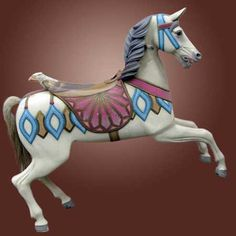 Thummel - $3950  Early 1900s pale grey carousel prancer from the Hermann Thummel carousel works in Germany bears an eagle backed saddle resting on an unusually vaned saddle blanket. The head is carried on an arched neck crested with a mane carved in high relief. The harness is further enhanced with diamond shaped flank and shoulder ornaments. Older restoration in very good condition. Glass eyes and natural horsehair tail. 55 long x 52 high.