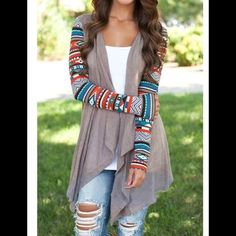 Aztec sleeve cardigan Thank you for stopping by. Please do not purchase this listing.  Send me a message and I will make a separate listing. Sorry no trading. Price is firm unless bundled. Happy Poshing!  Mason Belle Boutique Sweaters Cardigans