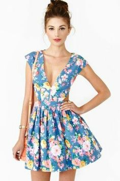 cute floral dress with low neck
