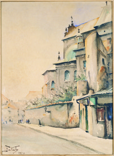 Saint Anne's Church in Warsaw - by Julian Falat (b. 1853); watercolor on board; donated by Mr. Casimir A. Silski, 1951.