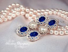 """MK-9 """"Openwork braiding jewelry with Swarovski crystals and pearls: ovals, Rivoli, pearls"""" 