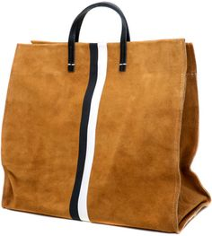 Clare Vivier Simple Tote in Camel Suede with Two Stripes in Brown (camel) Shopper Bag, Tote Bag, My Bags, Purses And Bags, Scott Smith, Fashion Bags, Mens Fashion, Clare Vivier, Beautiful Bags