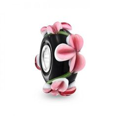 Bling Jewelry Murano Glass Black Floral Bead Sterling Pandora Compatible