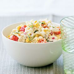 Chicken, corn, tomato pasta salad