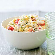Chicken, corn, tomato pasta salad
