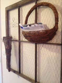 Chicken wire window and really awesome baskets for storage, needs something else though...