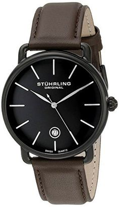 Luxury and Sports watches For Mens : Stuhrling Original Symphony Ascot Agent Men's Quartz Watch with Black Dial Analogue Display and Brown Leather Strap Fine Watches, Sport Watches, Watches For Men, Black Stainless Steel, Stainless Steel Watch, Mens Designer Watches, Brown Leather Strap Watch, Watch Deals, Beautiful Watches