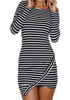 Striped Asymmetric Bodycon Dress - Long Sleeves Bodycon Dress