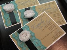 Love these lace & ribbon invites.