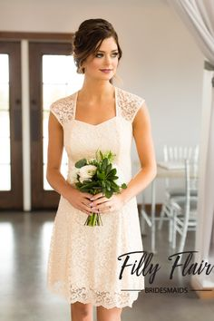 A short ivory bridesmaid dress that is perfect for your wedding.