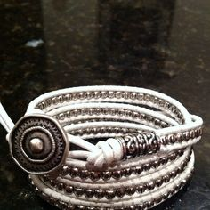 White leather wrap with pewter beads