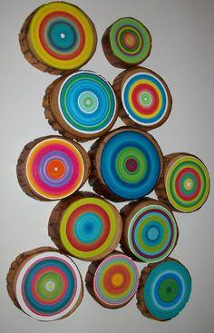 gorgeous. art. painted tree stump slices