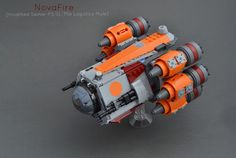 https://flic.kr/p/DSJ1fj | NovaFire [modified Seinar-FS SL-75e Logistics Mule] | The NovaFire is the personal starship of bounty hunter Ragan Lotha.  It is a heavily modified Seinar Fleet Systems logistics mule which were typically used for heavy cargo shunting in Imperial orbital ports and shipyards.  Armed with dual heavy laser cannons in the forward equipment hard-points, and equipped with turbocharged ramjets and a 0.70 class hyperdrive, the NovaFire is both well armed and fast.  Ragan…