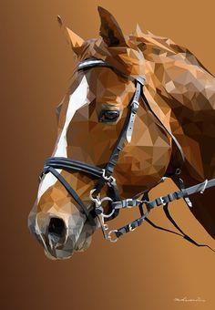 Low Poly Horse on Behance Animal Paintings, Animal Drawings, Art Drawings, Polygon Art, Pop Art Portraits, India Art, Arte Pop, Horse Art, Geometric Art