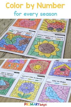 Color By Number Math Worksheets for Spring, Summer, Winter, Fall - Printable . 1st Grade Math, Kindergarten Math, Math Stations, Math Centers, Math Worksheets, Math Activities, Teaching Subtraction, Addition And Subtraction, Addition Facts