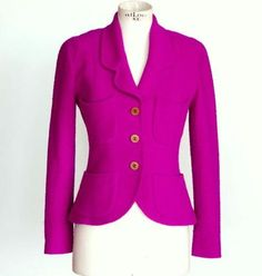 Guaranteed authentic CHANEL rich jewel toned striking hot magenta boucle jacket.Single breast with 4 patch...